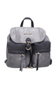 SUEDE BUCKLE AND DRAWSTRING BACKPACK in GREY/BLACK by BESSIE LONDON