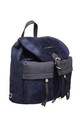 SUEDE BUCKLE AND DRAWSTRING BACKPACK in BLUE by BESSIE LONDON