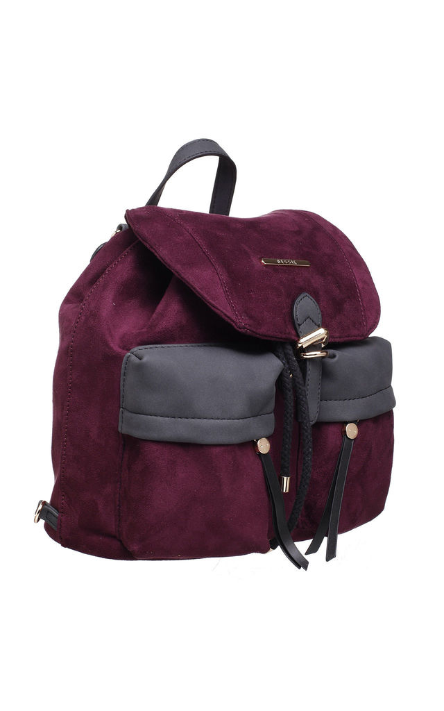 SUEDE BUCKLE AND DRAWSTRING BACKPACK in RED by BESSIE LONDON