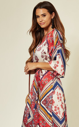 Kimono Sleeve Maxi Dress In Red Scarf Print by Yumi