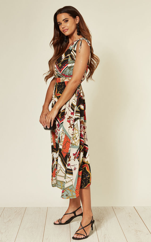 Asymmetric Sleeveless Midi Dress In Patchwork Chain Print by Yumi