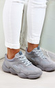 Grey Chunky Comfy Lace Up Trainers by Larena Fashion