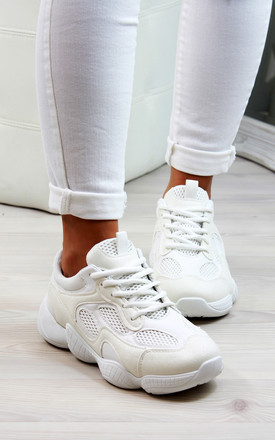 White Chunky Comfy Lace Up Trainers by Larena Fashion