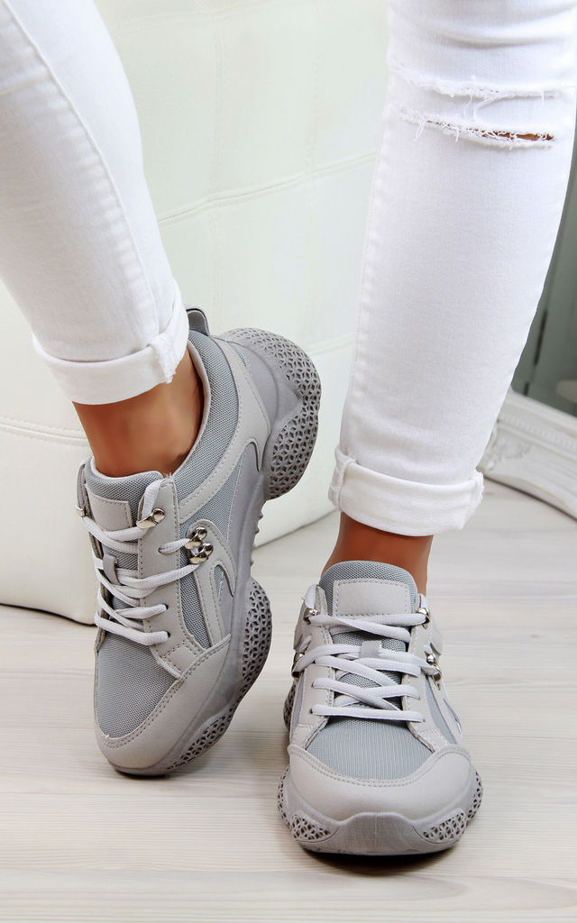 Grey Ski Hook Chunky Lace Up Trainers by Larena Fashion