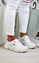 White Ski Hook Chunky Lace Up Trainers by Larena Fashion