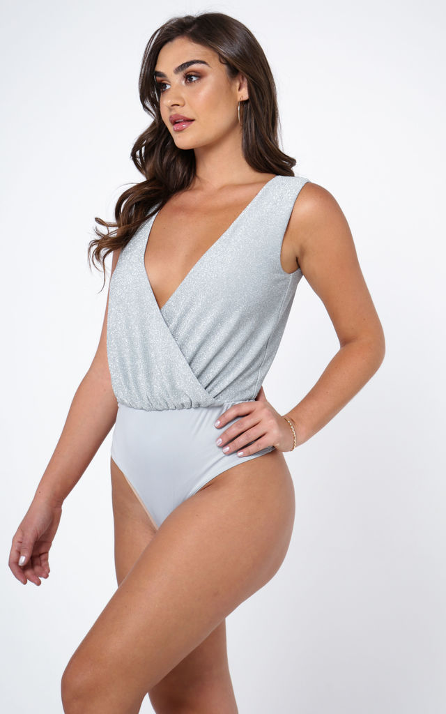 WRAP FRONT SLEEVELESS BODYSUIT IN METALLIC GLITTER by The Girlcode