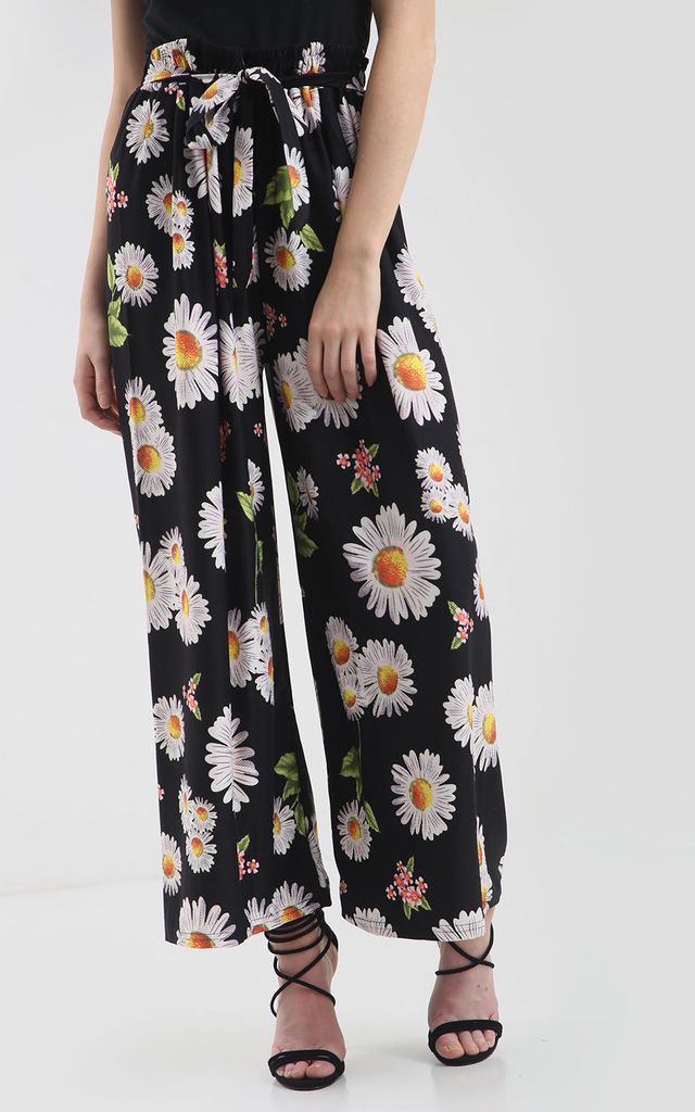High Waist Wide Leg Trousers in Black Daisy Print by Oops Fashion