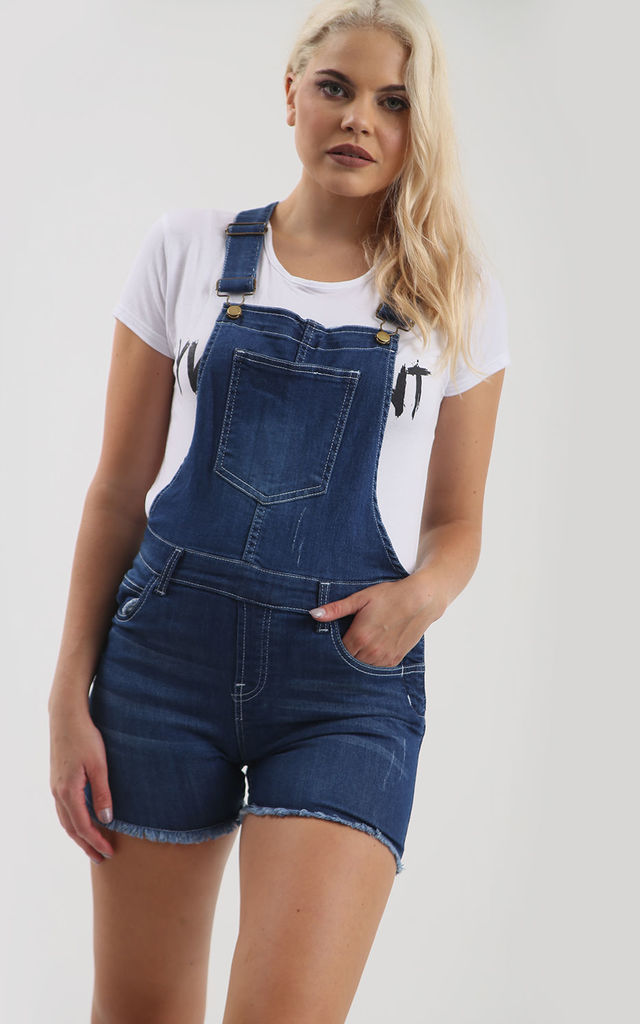 Denim Short Dungarees with Racer Back and Frayed Hem by Oops Fashion