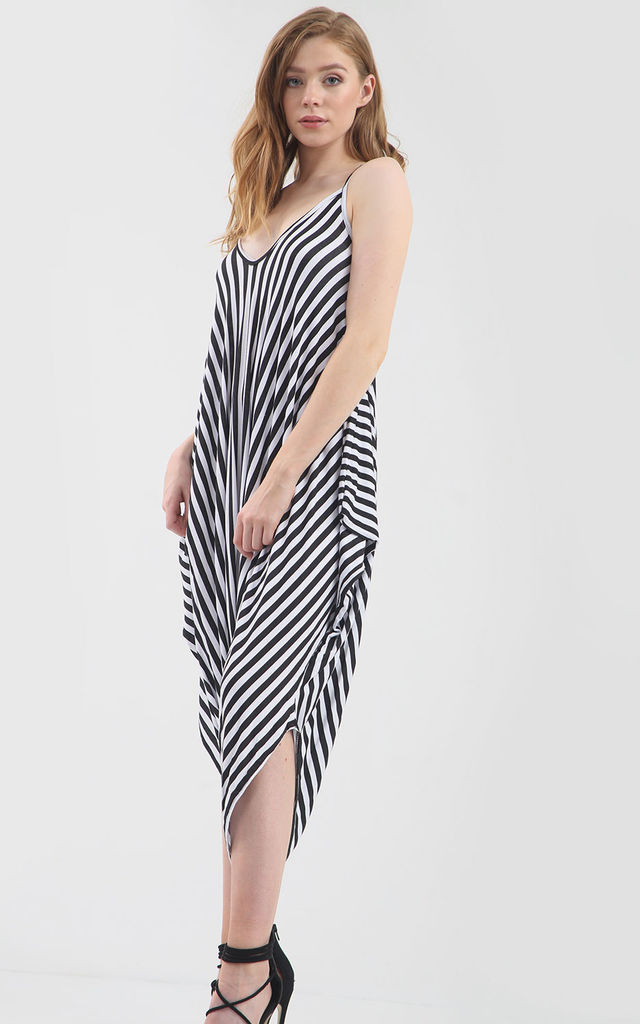 Strappy Harem Jumpsuit in Monochrome Stripe by Oops Fashion