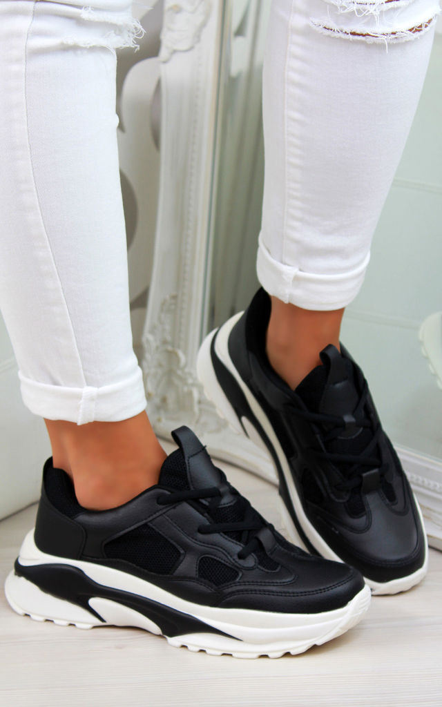 Black Chunky Lightweight Lace Up Trainers by Larena Fashion