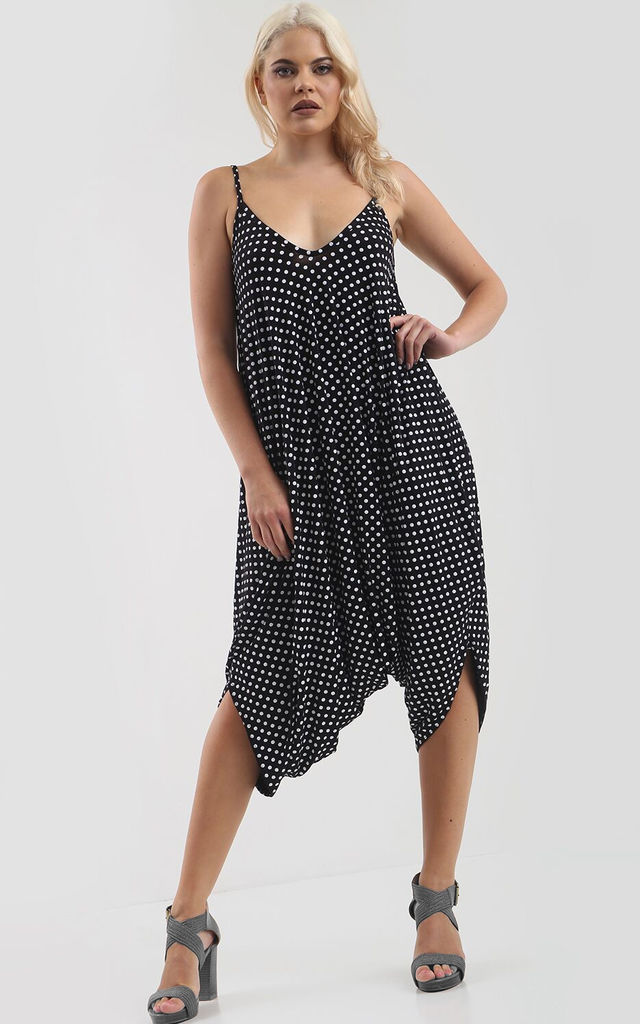 Strappy Harem Jumpsuit in Black and White Polka Dot by Oops Fashion