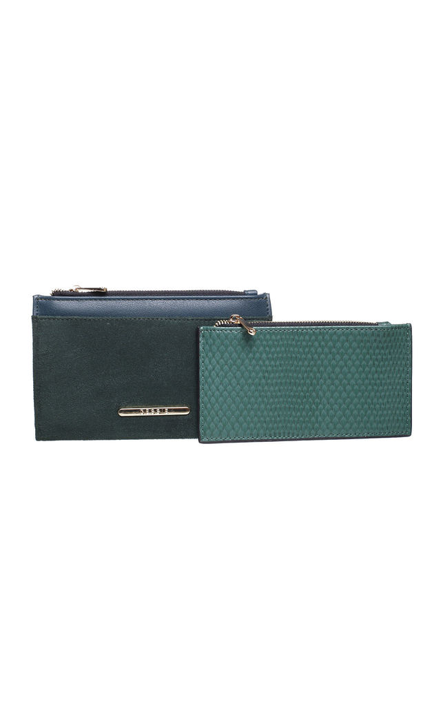 SMALL RECTANGULAR PURSE in GREEN REPTILE EFFECT by BESSIE LONDON