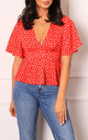 Polka Dot Open Back Peplum Hem Polka Dot Blouse Top in Red & White by One Nation Clothing