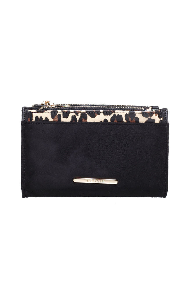 SMALL RECTANGULAR PURSE in BLACK/LEOPARD PRINT by BESSIE LONDON