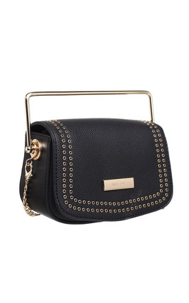 FLAP TOP CROSS BODY BAG WITH METAL HANDLE in BLACK by BESSIE LONDON