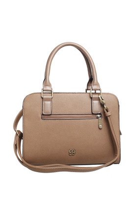 STRUCTURED TOTE BAG WITH FRONT ZIP POCKET in LIGHT BROWN by BESSIE LONDON
