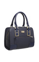 STRUCTURED TOTE BAG WITH FRONT ZIP POCKET in NAVY by BESSIE LONDON