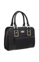 STRUCTURED TOTE BAG WITH FRONT ZIP POCKET in BLACK by BESSIE LONDON