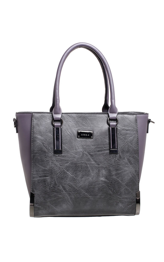STRUCTURED TOTE BAG WITH GUNMETAL HARDWARE IN GREY by BESSIE LONDON