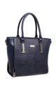 STRUCTURED TOTE BAG WITH GUNMETAL HARDWARE IN NAVY by BESSIE LONDON