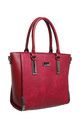 STRUCTURED TOTE BAG WITH GUNMETAL HARDWARE IN RED by BESSIE LONDON