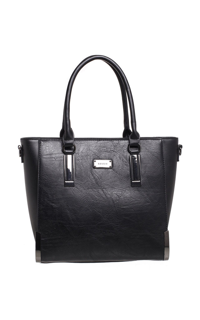 STRUCTURED TOTE BAG WITH GUNMETAL HARDWARE IN BLACK by BESSIE LONDON
