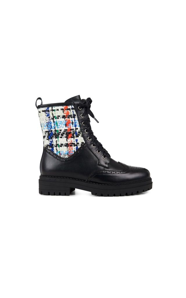 Orkney Lace Up Boot in Black/Sunrise Tweed by Yull Shoes