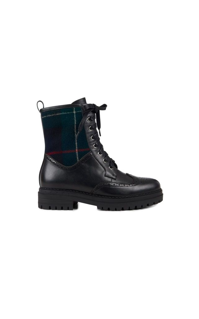 Orkney Lace Up Boots in Black/Tartan by Yull Shoes