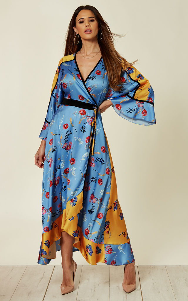 Kimono midi dress in mixed print floral by Liquorish