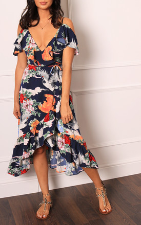 Strappy Cold Shoulder Frill Wrap Midi Dress With Floral & Bird Print In Navy, Pink & Orange by One Nation Clothing Product photo
