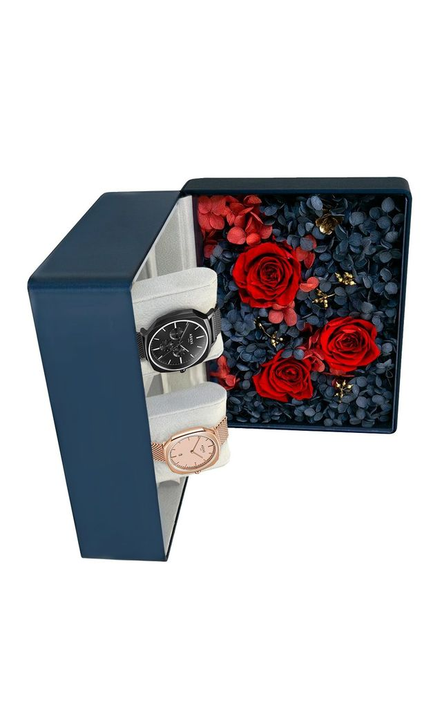 Square Watch Gift Box in Black/Rose Gold by ADEXE Watches