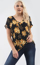 Oversized Slinky V Neck Tshirt in Black Floral Print by Oops Fashion