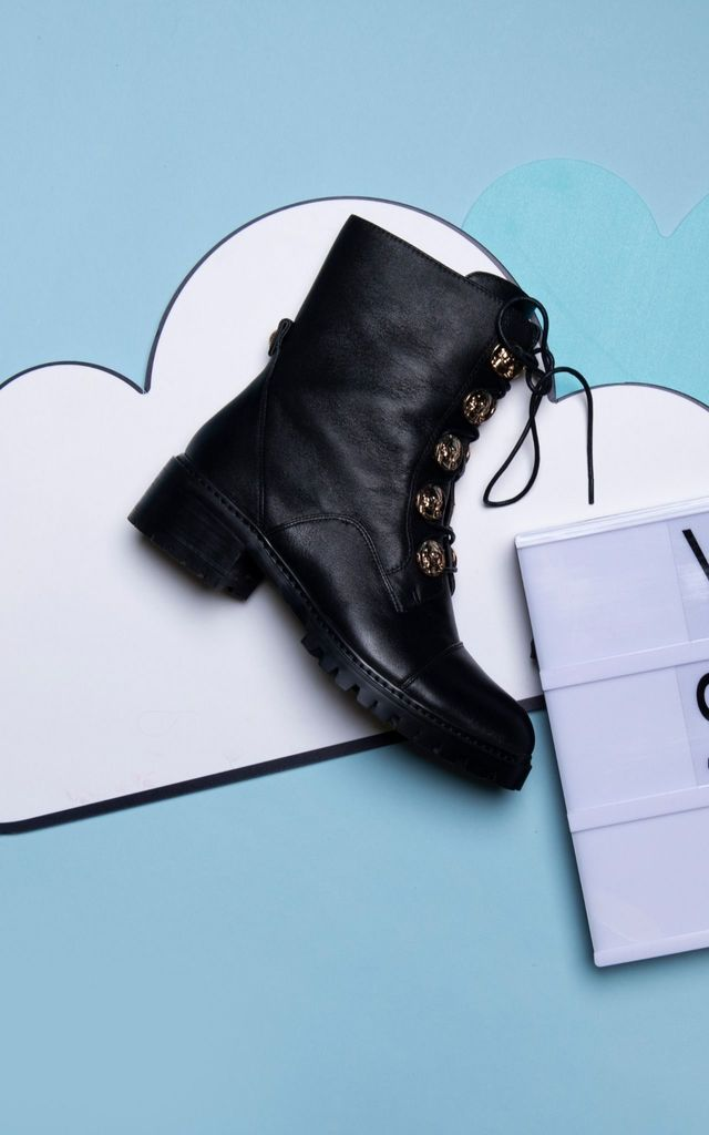 Chepstow Lace Up Boots in Black by Yull Shoes