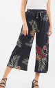 High Waisted Tropical Print Culotte Trousers by Oops Fashion