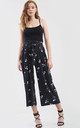 High Waisted White Floral Print Culotte Pants by Oops Fashion