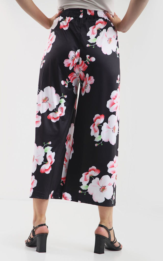 High Waisted Floral Print Cropped Leg Trousers by Oops Fashion