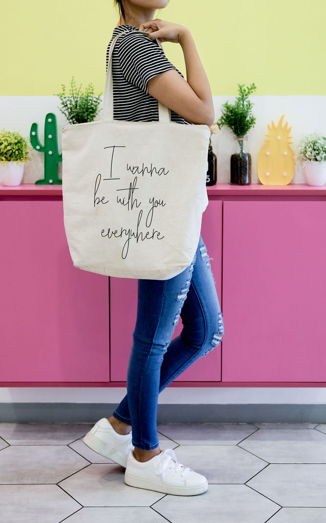 Canvas Linen Beach bag with Slogan Quote by Art Wow