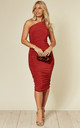 Rose Ruched One Shoulder Midi Dress in Rust Red by Pleat Boutique