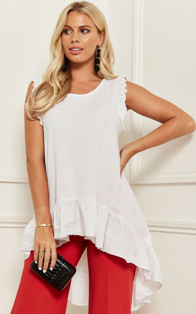 High Low Sleeveless Frill Hem Top In White by Bella and Blue
