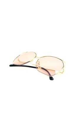 LUCA Peach Tinted Glass Sunglasses with Gold Frame by ShaniceEmily