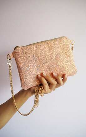 Glitter Crossbody Bag in Bubblegum Pink by Suki Sabur Designs
