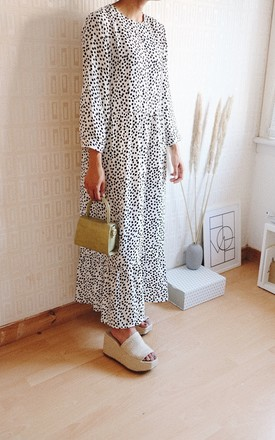 Roe Long Sleeve Maxi Dress With Drop Hem In Black And White Polka Dot by Ajouter Store Product photo