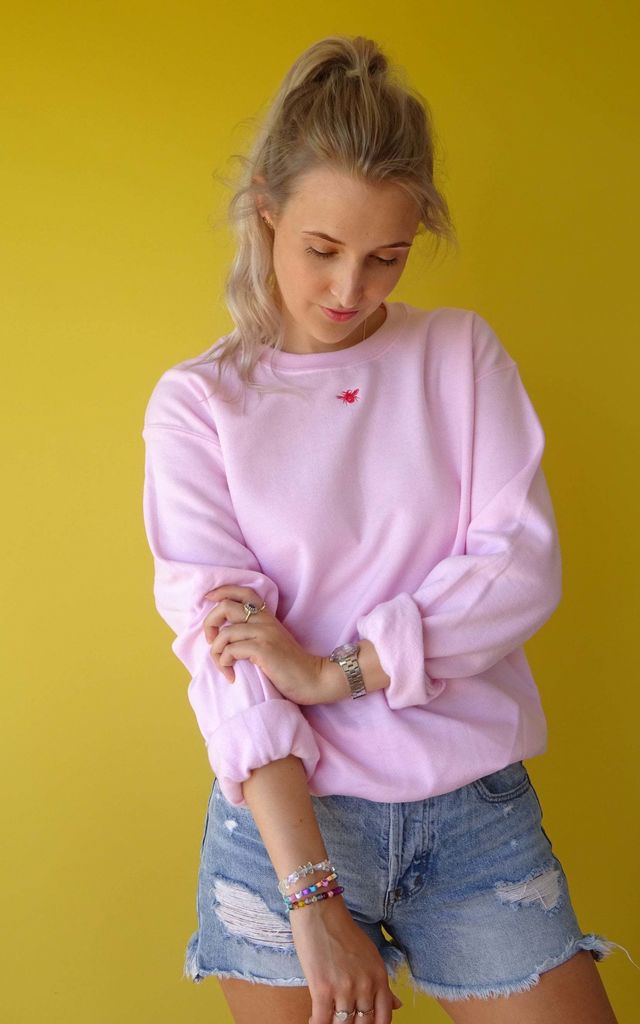 Light Pink Sweatshirt with Embroidered Mini Bee by Emma Warren