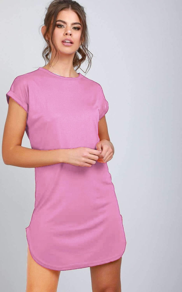 Meana Mini Tshirt Dress with Turned Up Sleeves in Pink by Oops Fashion