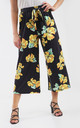 High Waisted Yellow Floral Print Wide Leg Culotte by Oops Fashion