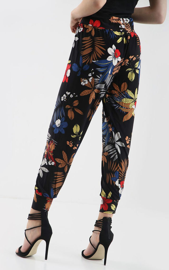 High Waisted Harem Trousers in Tropical Floral Print by Oops Fashion
