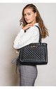 QUILTED MULTI COMPARTMENT SHOULDER BAG BLACK by BESSIE LONDON
