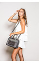 SUEDE DOUBLE HANDLE TOTE BAG GREY by BESSIE LONDON