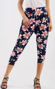High Waisted Cropped Trousers in Pink Floral Print by Oops Fashion