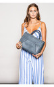 TEXTURED MULTI COMPARTMENT TOTE BLUE by BESSIE LONDON